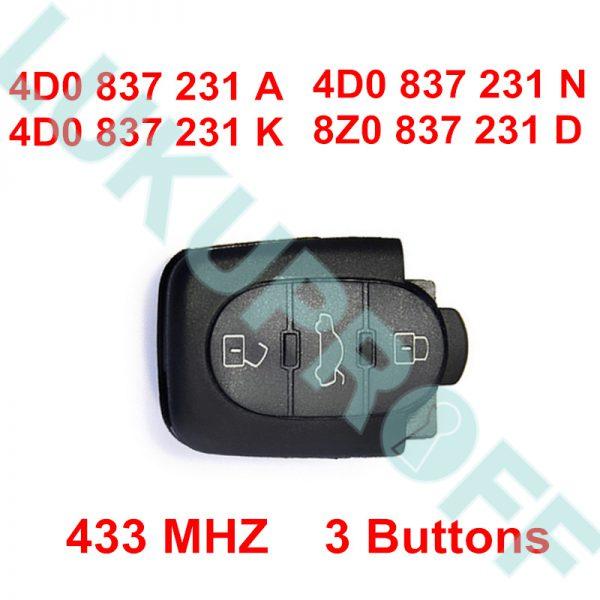 AUDI VÕTME PULT 434 MHz 4D0 837 231 K